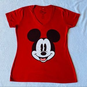 Red V-Neck Mickey Mouse Tee